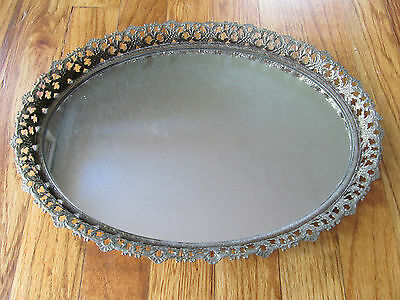 Vanity Tray mirror glass French Filigree Oval
