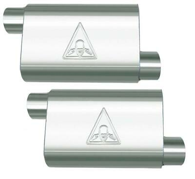 "Pair of two High Flow Dual Chamber Performance Mufflers 2.25/"" Offset//Center"