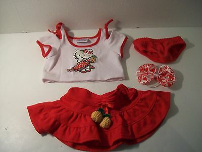 Build A Bear Clothing~Hello Kitty Pineapple Shirt Skirt~Red/White Bow~Panties~C7