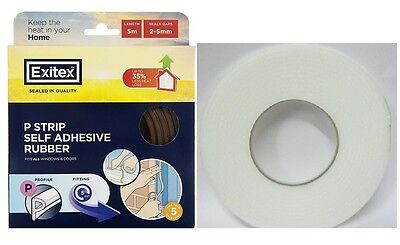 Draught Excluder Rubber 5 Metre Strip. White & Brown
