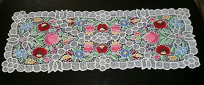 Hungarian hungary Kalocsa new hand embroidered table runner colorful richelieu.