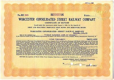 Worcester Consolidated Street Railway Company Stock Certificate Orange