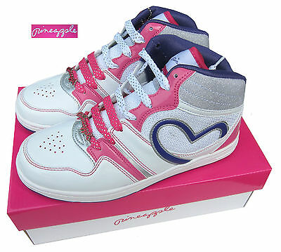Pineapple Dubz Girls White/Pink High Top Boots / Trainers Lace Up UK3, UK4 & UK5