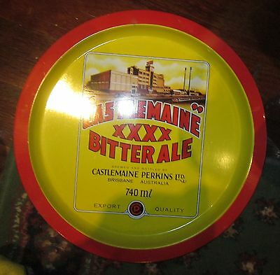 CASTLEMAINE XXXX BITTER ALE PRINT  Advertising Round Beer Tray  - VGC