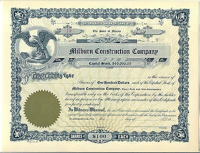 Milburn Construction Company Stock Certificate Jacksonville Florida