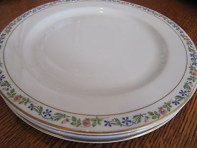SET 3 SYRACUSE LUNCHEON PLATES pink blue flowers