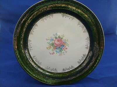 Taylor Smith Green 22-K-Gold Trim Floral Plate Beautiful