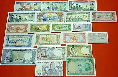 LAOS LAO 20 different uncirculated banknotes collection lot