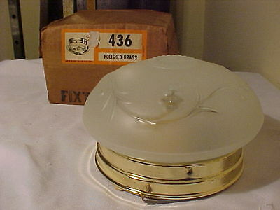 Vintage Brass Ceiling Fixture by Pheonix Glass With Glass Shade Original Box