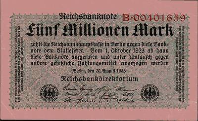 1923 Germany Weimar Republic 5.000.000 Mark Banknote