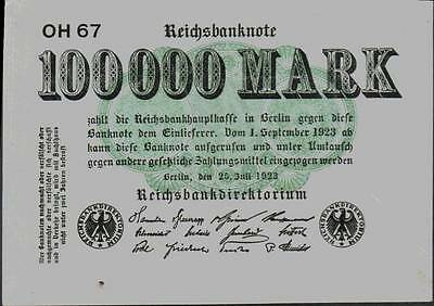 1923 Germany Weimar Republic 100.000 Mark Banknote
