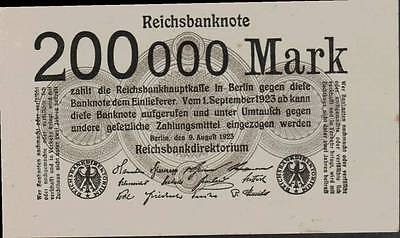 1923 Germany Weimar Republic 200.000 Mark Banknote