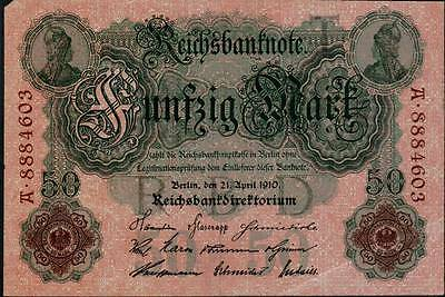 1910 German Empire 50 Mark Banknote