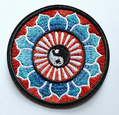 Yin yang tao taoism peace trance boho hippie yoga Lotus applique iron on patch