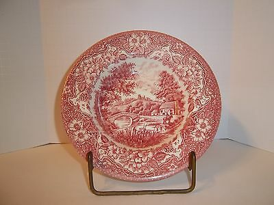 "Antique EIT 46 -9"" Soup or Salad Bowl English Ironstone Red Toile Transferwear!"