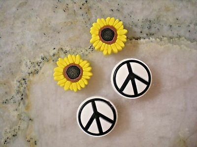 Shoe Plug Button Pin Charm Compatible w/Crocs Peace Sign Sun Flower Bracelet