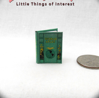 ATLAS OF THE WORLD Miniature Book Dollhouse 1:12 Scale Illustrated Full Color