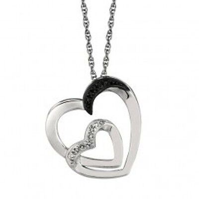 """Diamond Double Heart Pendant Black And White Sterling Silver 18"""" Necklace"""