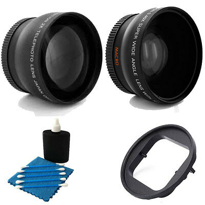 52mm Wide Angle w/ 2x Telephoto lens + Adapter Ring For GoPro Hero 3+ 3 Black
