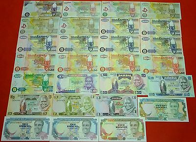 ZAMBIA 27 uncirculated banknotes with different signatures & dates collection
