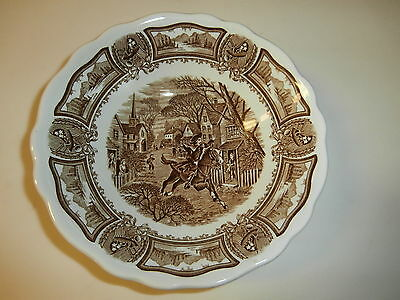 Vintage J.&G. Meakin Ironstone Soup Bowl  Americana Style House Brown Transfer