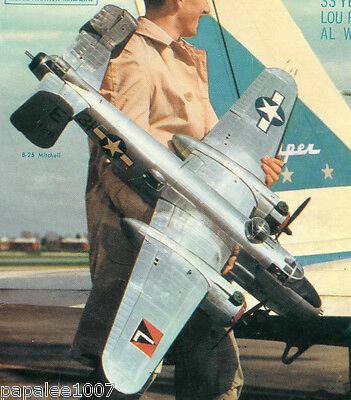 """Model Airplane Plans: B-25-H MITCHELL Bomber 1/15 Scale 53"""" UC for .25-.45s (2)"""