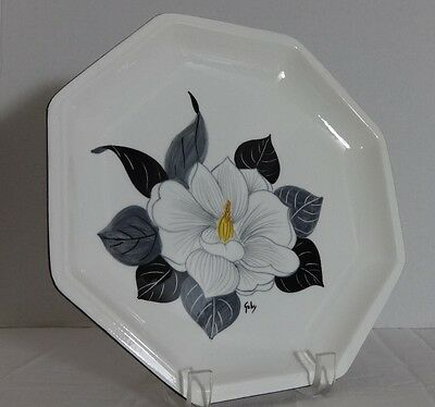 """VINTAGE DIPINTO A MANO LACA ROMA Signed GABY FLORAL PLATE 10"""" ITALY ITALIAN"""