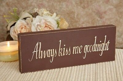 Always Kiss Me Goodnight Primitive Home Decor Sign Block Burgundy