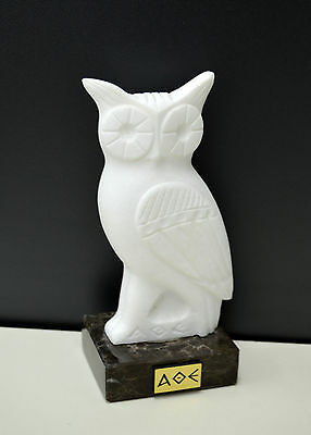 Owl Ancient Greek symbol of knowledge and wisdom real marble statue artifact