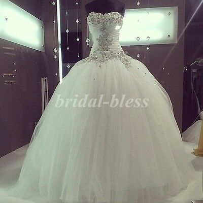 New Sweetheart Tulle Ball Gown Wedding Dresses Bridal Gown White or Ivory Custom