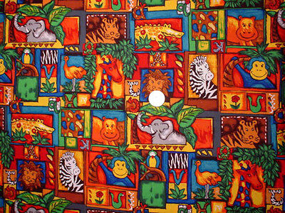 COLORFUL  JUNGLE  ANIMALS  IN  SQUARES  Cotton Fabric  By Yard