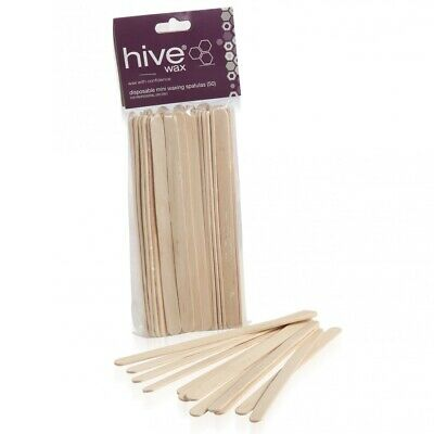 Hive Options Disposable Wooden Wax Sticks Tongue Mini Waxing Spatulas Pack of 50