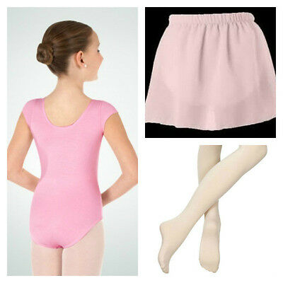 Body Wrappers BWC120 Girl's Small (4-6) Pink Short Sleeve Leotard Tights & Skirt