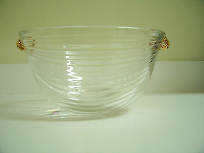 Elegant Heavy Clear Glass Ribbed Design ICE BUCKET with Gold Painted Handles