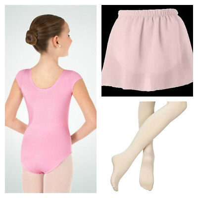 Body Wrappers BWC120 Girl's LG (12-14) Pink Short Sleeve Leotard Tights & Skirt