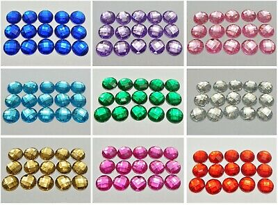 200 Acrylic Flatback Rhinestone Faceted Round Gems 12mm No Hole Pick Your Color