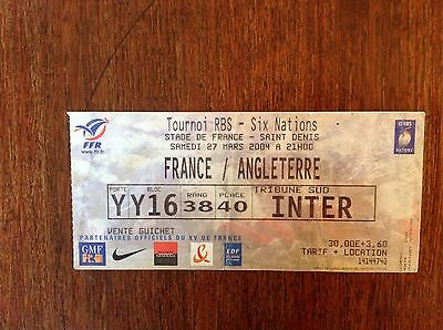 France v England 2004 Used Rugby Ticket