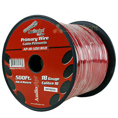 500' FT Spool Of Red 18 Gauge AWG Feet Home Primary Power Cable Remote Wire