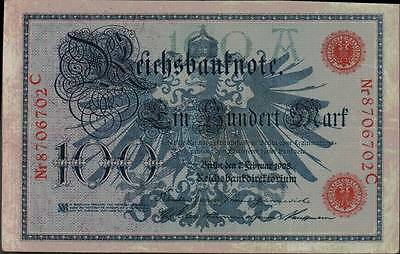 1908 German Empire Kaiser Huge 100 Mark Banknote RED SEAL