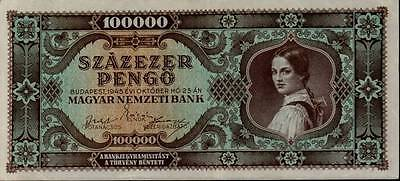 1945 Hungary Hyper Inflation 100000 Pengo Banknote