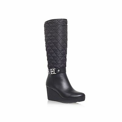 b131a0ca94a Michael Kors Aaran Silver Mk Logo Cold Weather Wedge Boots 9 11 I Love Shoes