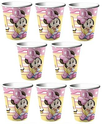 Lot of 8 Baby Minnie Mouse  9oz Paper Cup ~1st Birthday Party Favor Supplies~