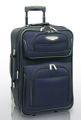 """Traveler Choice Blue Navy Amsterdam 21"""" Carry-on Expand Rolling Luggage Suitcase"""