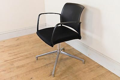 Retro Chrome And Black Swivel Chair Excellent Miller Danish Style