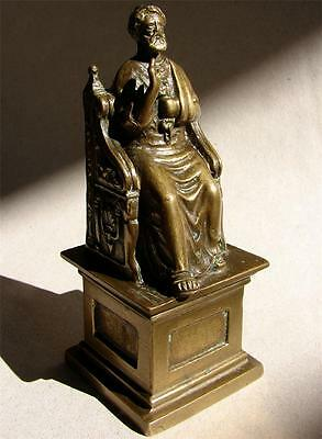 Antique 19th Cent bronze figurine Saint ST. Peter on his throne Grand Tour Italy