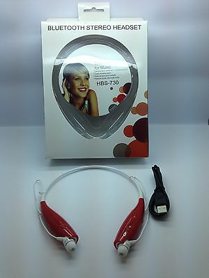 LOT OF 10 NEW BLUETOOTH STEREO HEADSET HBS-730 AROUND THE NECK UNIVERSAL RED