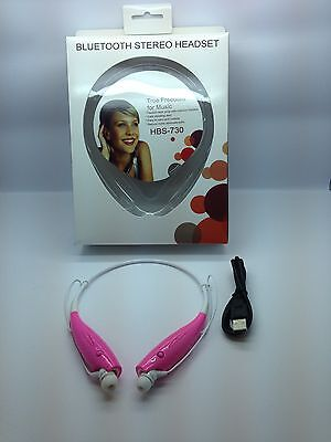 Lot Of 2 New Bluetooth Stereo Headset Handsfree Around The Neck Universal Pink