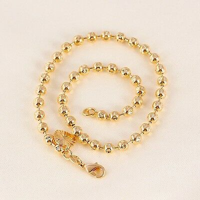 """9K 9ct Yellow """"Gold FILLED"""" Beaded, Heart & Bell ANKLE CHAIN / Anklet 10.6"""" Gift"""