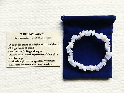 Blue Lace Agate Bracelet Gemstone Crystal Chip Beads Stretch 'BUY 3 GET 1 FREE'