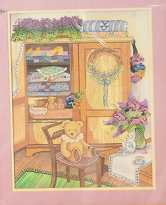"""Something Special Counted Cross Stitch Kit """"TEDDY AND QUILT CABINET"""" 50417 NEW"""